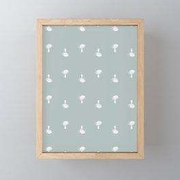 Small palm trees on gray Framed Mini Art Print