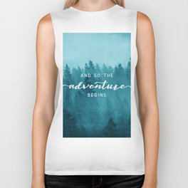 And So The Adventure Begins - Turquoise Forest Biker Tank