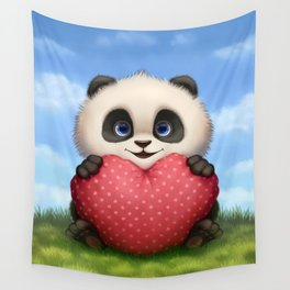 Valentine Panda Wall Tapestry