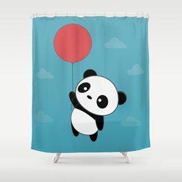 Kawaii Cute Panda Flying Shower Curtain