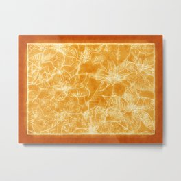 Mixed color Poinsettias 1 Outlined Orange Metal Print