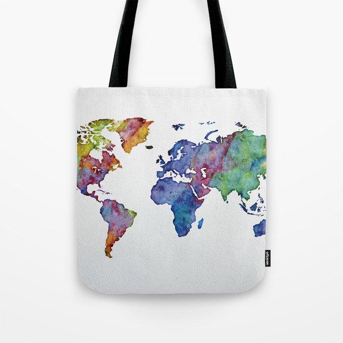 Multicolor World Map 03 Tote Bag