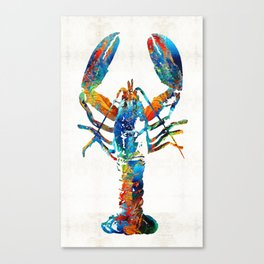 Colorful Lobster Art by Sharon Cummings Canvas Print