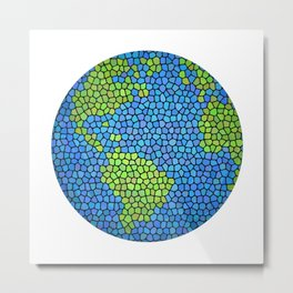 Planet Earth (Stained Glass) Metal Print