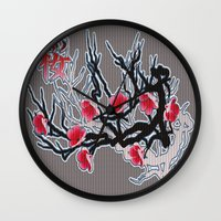 cherry blossoms Wall Clocks featuring Cherry Blossoms by Robin Curtiss