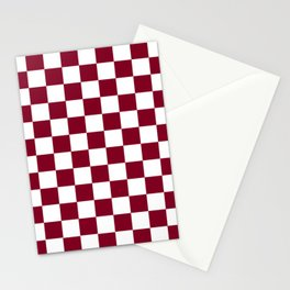 Checkered Pattern White and Burgundy Stationery Cards