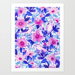 Birds n Flowers Blue Art Print