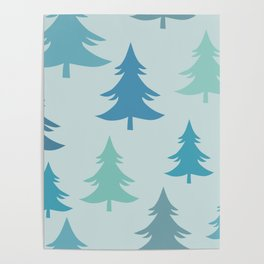 Winter Fir Trees, Firs Winter Pattern Poster