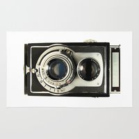 decal Area & Throw Rugs featuring Vintage Camera by Ewan Arnolda