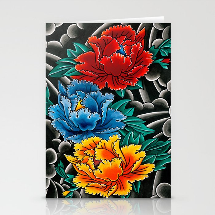 43 Japanese Peony Tattoos Collection: Japanese Tattoo Style Peonies Stationery Cards By