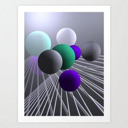 converging lines and balls -1- Art Print