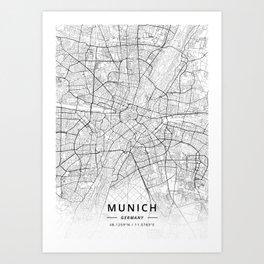 Munich, Germany - Light Map Art Print