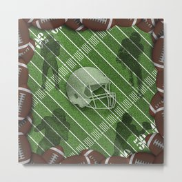 Football Field with Players and Helmet Metal Print