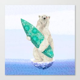 Polar bear & Surf (green) Canvas Print