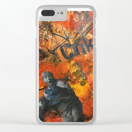 Orange Icons Clear iPhone Case