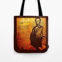 lincoln Tote Bags featuring Abraham Lincoln by Saundra Myles