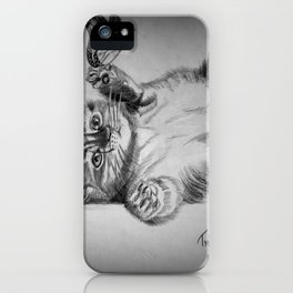 Kitten catching the butterfly iPhone Case