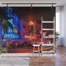 South Beach Miami Portrait in Colorful Time Lapse Paint by Jeanpaul Ferro Wall Mural