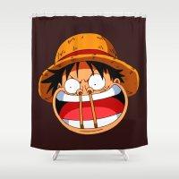 luffy Shower Curtains featuring Luffy & Nose Sticks! by Orfik