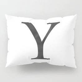 Letter Y Initial Monogram Black and White Pillow Sham