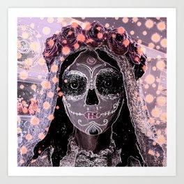 Novia Dia de los Muertos Estrellas Art Print