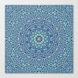Light Blue Floral Life Mandala Canvas Print
