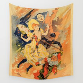 Pantomime comedy 1891 by Jules Chéret Wall Tapestry