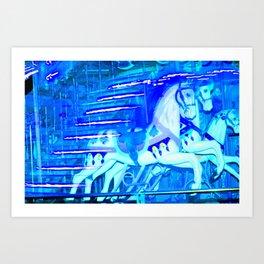 Blue carousel horse image Art Print