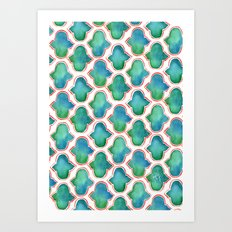 Blue/Green Moroccan Pattern Art Print