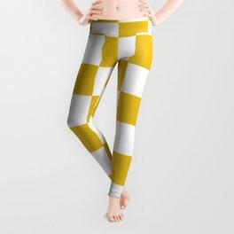 Mustard Yellow Checkers Pattern Leggings