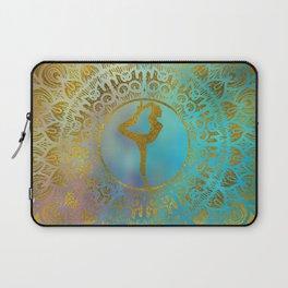Yoga Asana Symbol in Gold Mandala Laptop Sleeve