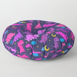 Dinosaurs At Night Pink Purple Dinosaur Kids Pattern Floor Pillow