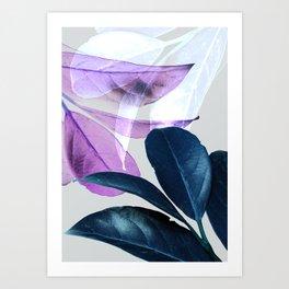 Blue Violet Leaves Art Print