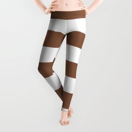 Milk chocolate - solid color - white stripes pattern Leggings