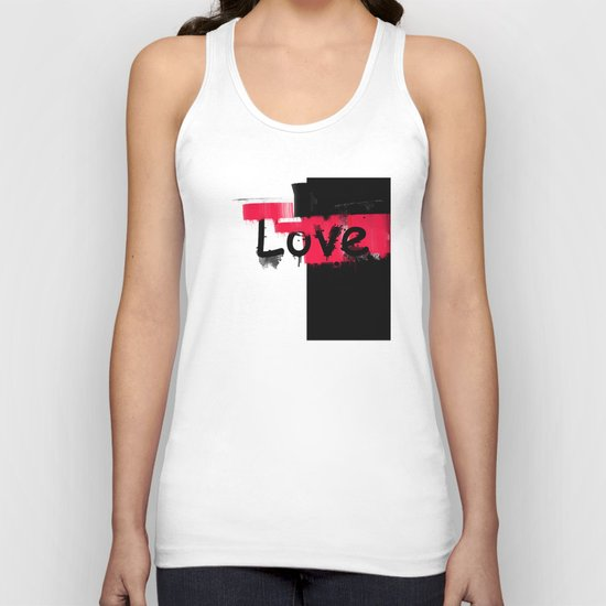 Black and red white pattern Love . Unisex Tank Top