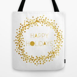 Gold Wreath Happy Holidays Tote Bag