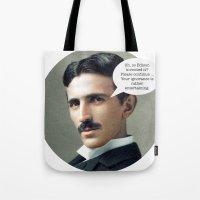 tesla Tote Bags featuring Nikola Tesla by Pink Pony