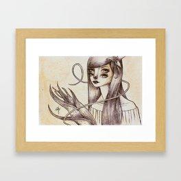 > Girl and Flower 02 Framed Art Print
