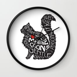 Maine Coon Lovers Black and White Wall Clock