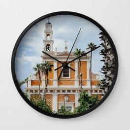Jaffa's Church in Tel Aviv, Israel | Pastel colored architecture | Travel photography | Art Print Wall Clock