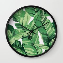 Tropical banana leaves V Wall Clock