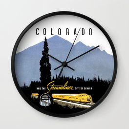 Union Pacific Train poster 1936 - Retouched Version Wall Clock