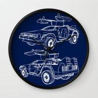 delorean Wall Clocks featuring Delorean Time Machine by Paul Elder