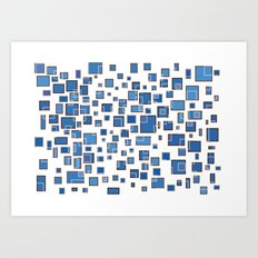 Blue Abstract Rectangles Art Print