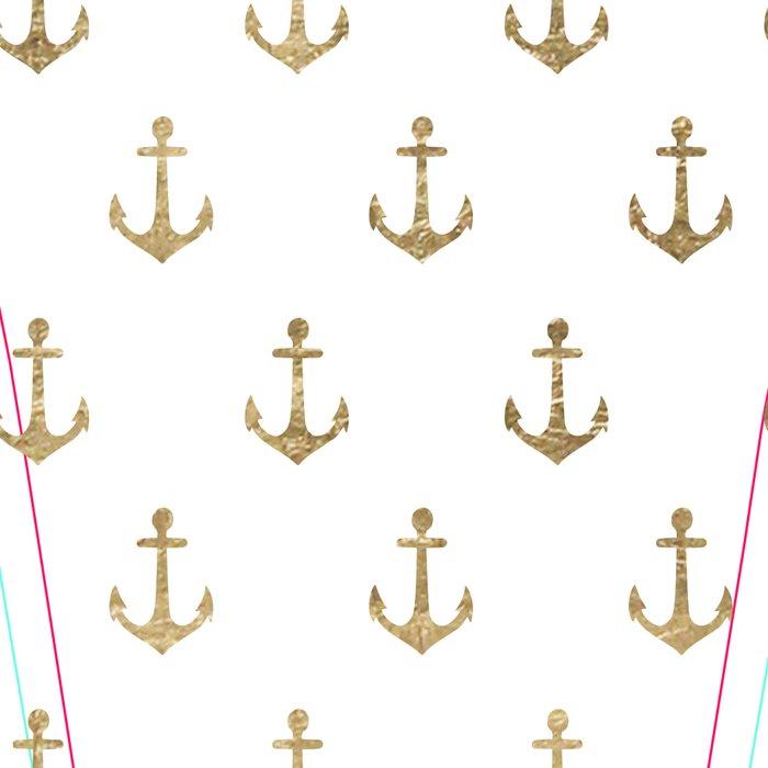 Elegant nautical faux gold white modern anchor Leggings
