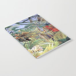Tiger in a Tropical Storm (Surprised!) by Henri Rousseau 1891 // Jungle Rain Stormy Weather Scene Notebook
