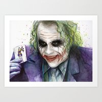 the joker Art Prints featuring Joker  by Olechka