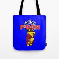 pooh Tote Bags featuring Doctor Pooh by cû3ik designs