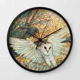 The Playground _ Raven, Owl, Chickadee Wall Clock