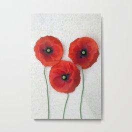 Three red Poppies III Metal Print